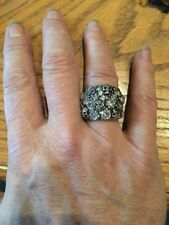 NWT Sterling Silver Harley Davidson Skulls Roses Cz Diamonds Ring 6.5 14 Grams