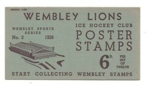 G.B-BRITISH EMPIRE WEMBLEY LIONS ICE HOCKEY 12 POSTER STAMPS AND FOLDER-SUPERB!!