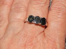 NATURAL SPECTROLITE & DIAMOND RING-SIZE S-2.250 CARATS-WITH PLATINUM