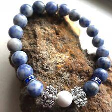 "Silver Lotus Azeztulite Healing Crystal Sapphire Stretch Sodalite Bracelet 7"""