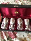 Corbell Silver Cordial Cups heavy plate Set of 4 case Fine Barware Collection vg