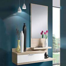 Consolle specchio cassetto svuotatasche ingresso rovere bianca console parete