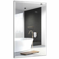 Rectangle Mirror Wall Mounted Bathroom Beveled Silver Mirror Frameless