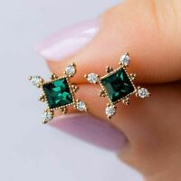 2.00 Ct Princess Cut Emerald & Diamond Stud Earrings Solid 14K Yellow Gold Over