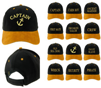 Marine Baseball Coton Hommes Femmes Famille Noir Doré Casquette Agents Capitaine