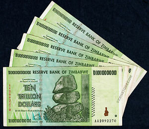 10 Trillion Dollars Zimbabwe x 5 Banknotes, AA 2008 Currency, Authentic [5PCS]