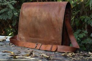 Leather Messenger Bag Computer Brown Laptop Briefcase Men's & Women's Satchel
