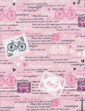 Timeless Treasures Paris C3643 Pink Paris French Script COTTON BTY
