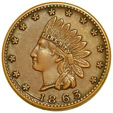 1863 Indian Head Union 61 Civil War Token, Rare Excellent Features Must Have Nr!