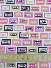 BEATBOX MIXTAPES PINK BY ROBERT KAUFMAN 100% COTTON FABRIC BY YARD FH-2283 MUSIC