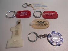 Lot of 6 Advertising Keychains Plastic Rubber Casino Chip