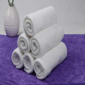 WHITE Face Cloths Pack of 12 100% Pure Soft Cotton Flannels Towels.