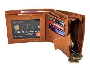 Mans RFID BLOCKING Genuine Leather Wallet Zip Coin Pocket Pouch ID Window 44 TAN