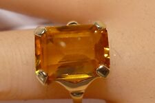 Emerald Cut 8 CTW Orange Citrine 14K Gold Cocktail Ring Hand Made Stunning