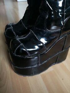 Demonia Stiefel Lack Schwarz Patchwork 8 Gothic 40