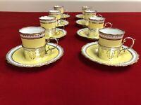 Antique Victorian Sterling Silver Porcelain Aynsley Demitasse Cup Saucer Set