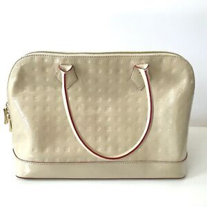 Arcadia ITALY Monogram Patent Leather Satchel Handbag Bag Beige with Red Stripe