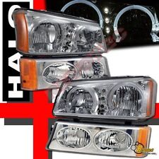 2003-2006 Chevy Silverado 1500 2500 Halo LED Headlights + Signal Bumper Lights