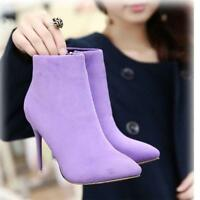 Womens Suede Ankle Boots Side Zip Stilettos High Heels Pointed Toe Shoes Bootie