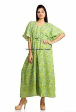 Indian Women Kaftan Kimono Sleeve Caftan Hippie Dress Cotton Maxi Beach Wear Art