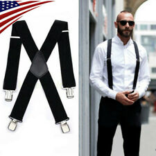 Mens Black Elastic Suspenders Leather Braces X-Back Adjustable Clip-on 2