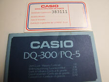 VINTAGE CASIO MODULE DQ-300/PQ-5 USER'S GUIDE / WARRANTY CERTIFICATE