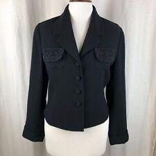 Zelda Black Beaded Cropped Jacket Blazer Size 6