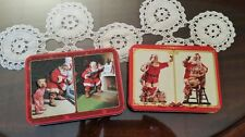 Lot of 2 Coca-Cola playing card tins with playing cards Christmas collector