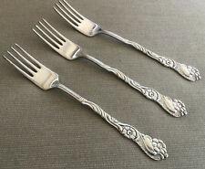 3 Salad Forks 4 Tines Nils Johan NIJ4 Rosten Stahl Sweden Silver Plate Scrolls