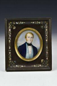 19th Century Miniature Portrait Painting Signed Sacro Fratelli Gutta Percha