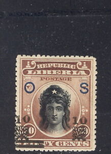 Liberia 1915-6, 10c on 50c Liberty official, scarce stamp #O92
