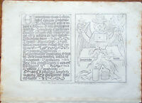 ✅Stampa incisione 1850-Principio della Stampa caratteri alfabetici e figure-CLXX