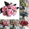 US_ 8 Heads Peony Artificial Flowers Peony Wedding Bouquet Home Party Decor Nove