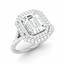 1.68 Ct Emerald Moissanite and Diamond Halo Engagement Ring Solid 14k White Gold