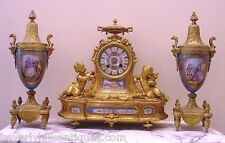Antique French Gilt Bronze Porcelain 3 Piece Clock Roy & Fill, Urns P.H. Mourey