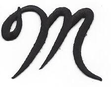 "SCRIPT LETTERS - Black Script Letter ""M"" - Iron On Embroidered Applique"