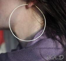 Sterling Silver Hoop Earrings 3 inch. Big Hoops. Flat Large Round Earrings