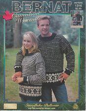 Bernat Snowflake Pullover knitting pattern men's or women's sweater
