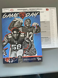 2021 Chicago Bears vs Bengals Home Opener Program and Spotters Chart 09/19/21