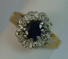 Heavy 18 Carat Gold Sapphire and Diamond Cluster Ring p0458