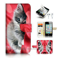 ( For iPhone 4 / 4S ) Flip Case Cover P3459 Cute Cat