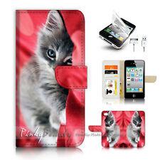 ( For iPhone 4 / 4S ) Flip Case Cover P3459 Cute Cat