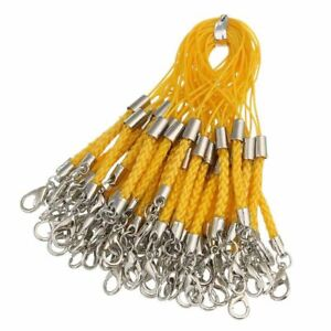 50pcs Phone Straps Lobster Clasps DIY Braided Lanyard Charms Pendant Bag Chains