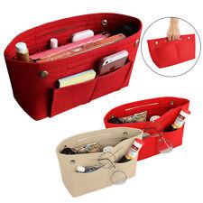 Portable Handbag Organizer Felt Fabric Purse Bag W/ Multi Pocket Insert Large