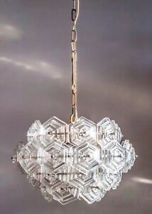 ONE of TWO BALLROOM CHANDELIER Pendant Light Clear Crystal Glass Hexagons 1970s