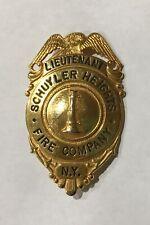"VINTAGE OBSOLETE SCHUYLER HEIGHTS NY FIRE DEPARTMENT 2 9/10"" LIEUTENANT BADGE"