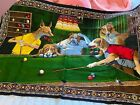 """VINTAGE Dogs Playing Pool Hanging Wall Tapestry Art Decor Bar Billiards 58""""x38"""""""