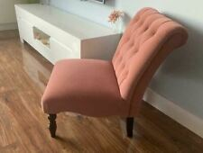 Dusky Antique Rose Pink - Dark Blush Button Back Accent Chair
