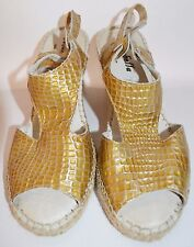 Marbella Sandals Wedge Gold Espadrilles Womens Slip On Leather FAUX Alligator 8