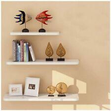 Floating Wall Shelves Storage Display Modern Home Decor White Wood Mdf Set Of 3